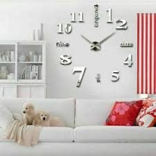 groß wand uhr wohnzimmer wanduhr wandtattoo aufkleber deko 3d design silbern ebay