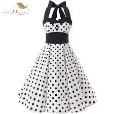 online get cheap white with black polka dots halter dress