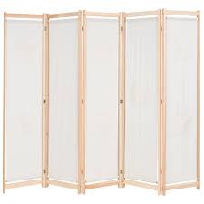 5 teiliger paravent raumteiler trennwand raumtrenner sichtschutz für wohnzimmer creme 200 x 170 x 4 cm stoff