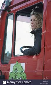 100 Female Truck Driver Industry Transport Truck Driver Behind Steering