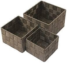 aufbewahrungsbox 3er set quadratisch geflochten korb box badezimmer kiste regal farbe braun