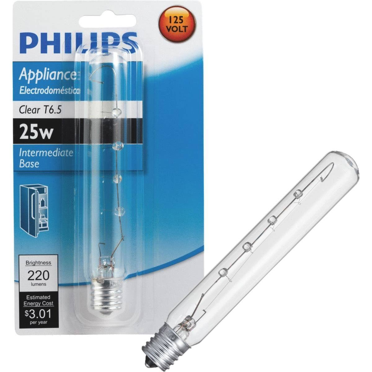 Philips Clear T6.5 Appliance Intermediate Base Light Bulb - 25w
