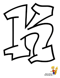 Urban Graffiti Letter K To Color At YesColoring