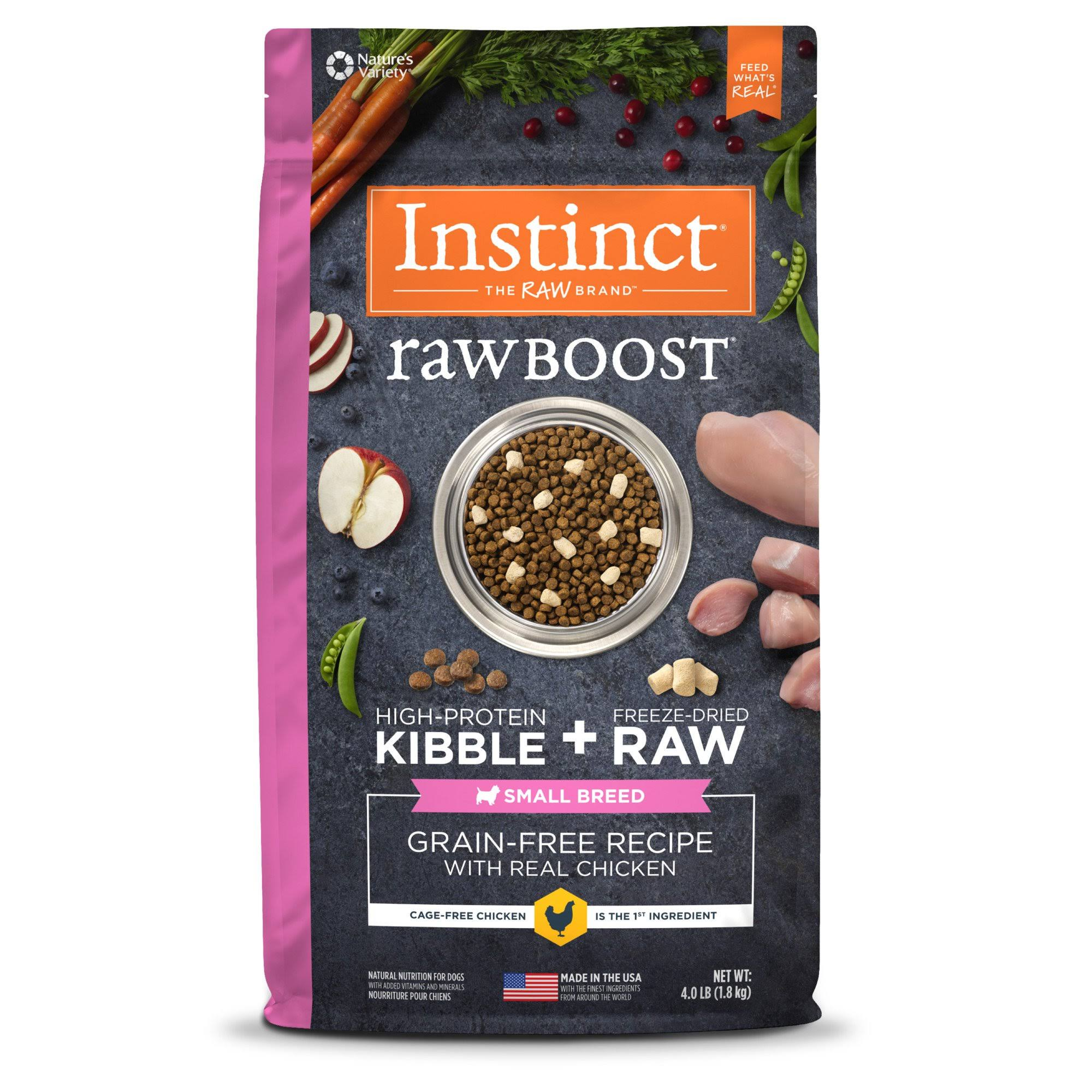 Nature's Variety Instinct Raw Boost Grain Free Dry Dog Food - Chichen, 4.3lbs
