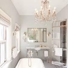 crystal chandelier over tub contemporary bathroom veranda
