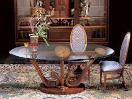oval esstisch aus holz mit glasplatte idfdesign
