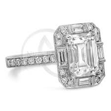 Emerald Cut Moissanite Antique Style Diamond Engagement Ring With Rings Baguettes