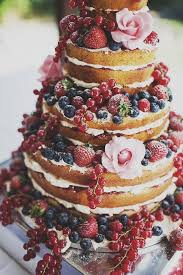 Rustic Naked Cake With Fruit And Flowers