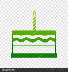 Birthday cake sign Vector Green gra nt icon on transparent background — Stock Vector