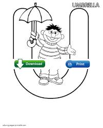 Ernie With Umbrella The Lettre U Coloring Sheet