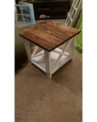 On Rustic End Tables X Table Farm Style Wooden Furniture B