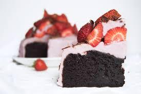 Vegan Strawberries & Cream Fudge Chocolate Cake