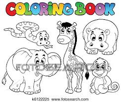 Clipart Of Coloring Book With African Animals K6122225
