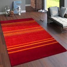 teppich handgewebt gabbeh qualität 100 wolle streifen meliert terrakotta