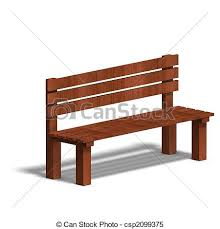 Wooden park bench 3d render and shadow over white stock