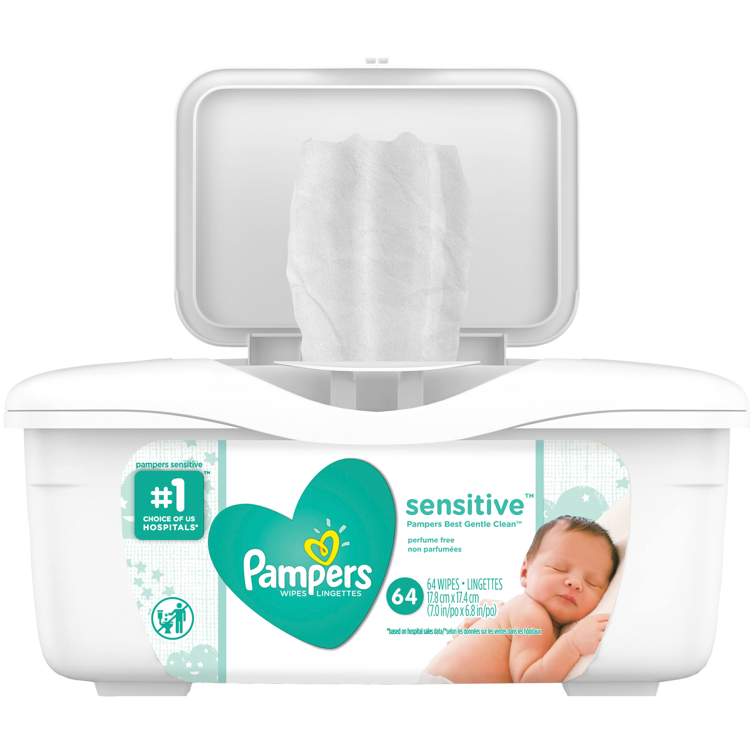 Pampers Wipes Tub - Sensitive, 64 Count