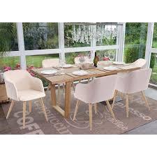 6x esszimmerstuhl hwc d71 stuhl küchenstuhl retro design armlehnen stoff textil creme beige