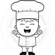 Child Chef Excited Black and White Line Art