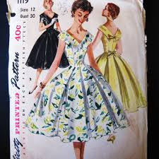 Vintage 50s Dress Pattern Fitted Bodice Extra By JuneeMoonVintage 1500