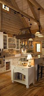Dramatic Farmhouse Kitchen With Cream Cabinets Open Ceiling And Exposed Beams