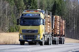 SALO, FINLAND - APRIL 21, 2017: Yellow Volvo FH16 Logging Truck ...
