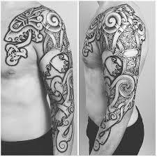 Nordic Wolf Tattoo Design On Sleeve
