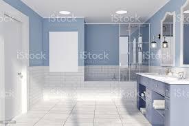 blau und ziegel wand bad poster stockfoto und mehr bilder badewanne