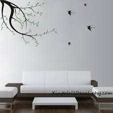 Wall Art Design Ideas Branches With Birds Tree Simple Classic Houzz Stickers Remarkable