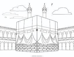 Muslim Coloring Pages Printable The Kaaba