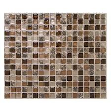 Smart Tiles Peel And Stick by Shop Smart Tiles 6 Pack Brown Uniform Squares Mosaic Composite