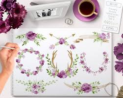 Flower Clipart Rustic Wedding Clip Art Floral Wreath Antlers