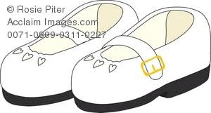Royalty Free Clipart Illustration Of Childs White Mary Janes