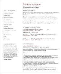 Graduate Architect Resume Example
