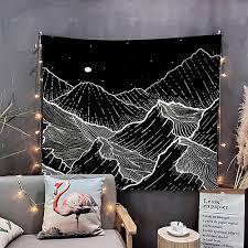 wandteppich kunst dekor decke vorhang picknick tischdecke hängen zu hause schlafzimmer wohnzimmer wohnheim dekoration schwarz und weiß berg galaxie