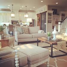 modern farmhouse living room open concept to kitchen interior