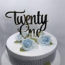 Free Shipping Twenty e Happy Birthday Cake Topper Decoration White Black Glod Silver