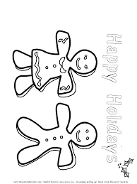 Gingerbread Couple With Happy Holidays Coloring Page