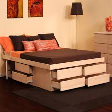This Unfinished Birch Platform Storage Bed Features Solid Birch