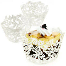 Butterfly Lace Cupcake Wrappers Cases Laser Cut Box Wedding Party Cake Decor
