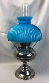 etched blue glass l shade 4 fitter victorian flowers oil gas