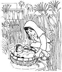 Baby Moses Floated On The River Coloring Pages