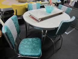 Vintage Original 1950s Chrome Dinette Set Table 4 Chairs Matching Rocking Chair