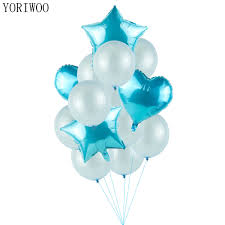 YORIWOO Babyshower Blue Theme 1st Birthday Party Decorations Kids First Happy Birthday Balloons Helium Baby Shower Its A Boy