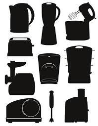 set icons elektrogeräte für die küche schwarz silhouette