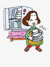 Washing Dishes Housewife Cartoon Industrious Material PNG Image And Clipart