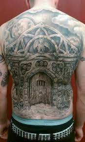 Full Back Celtic House Tattoo Design