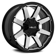 100 Helo Truck Wheels HELO HE909 Gloss Black With Machined Face Rims