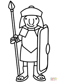 Roman Soldier Coloring Page Kids
