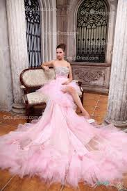 beautiful candy pink strapless ruffled high low summer wedding