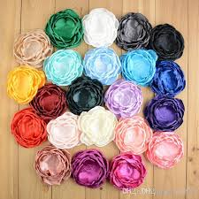 4 Inch Fabric Handmade Flowers Satin Layered For Hair Accessories Diy Crafting Without Clips Falt Back Photography Props T414